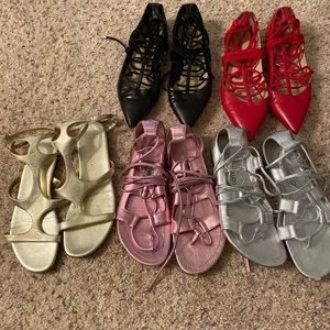 5 pairs of Tamara Mellon lace up flats!